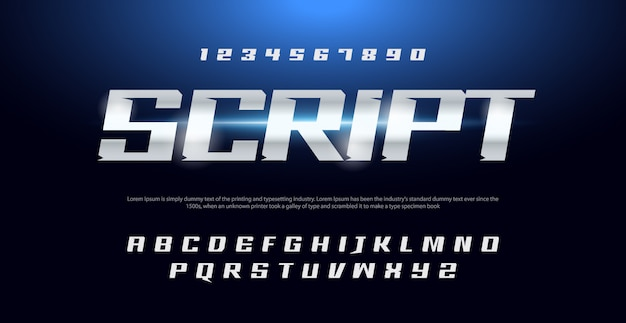 Sport modern typography italic alphabet fonts and number set