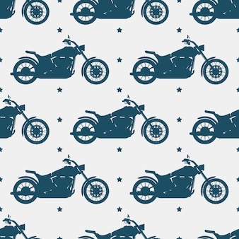 Sport motorbike silhouette and seamless pattern - motorcycle seamless texture