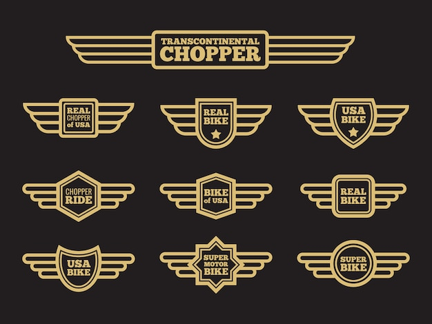 Sport motorbike vintage wing labels