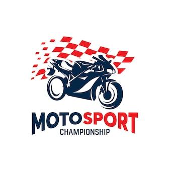 Sport motorcycle championship logo design template
