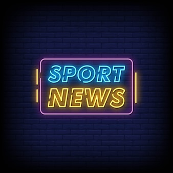 Sport news neon signs style text