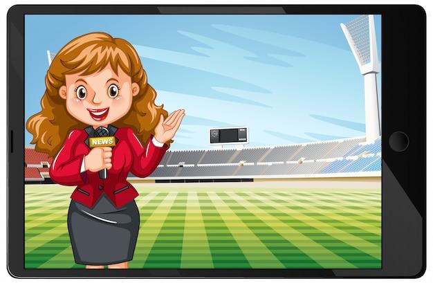Новости спорта на экране планшета изолированы