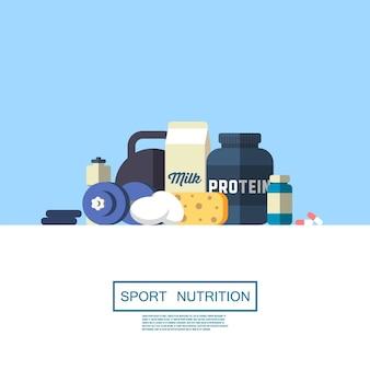 Баннер спортивного питания. плоский дизайн