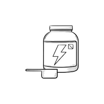 라벨 손으로 그린 개요 낙서 아이콘이 있는 스포츠 영양 용기. 유장 단백질, 식품 보충 개념. 인쇄, 웹, 모바일 및 흰색 배경에 인포 그래픽에 대한 벡터 스케치 그림.