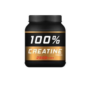 スポーツ栄養容器タンパク質スポーツ食品広告バナーベクトルと現実的な黒いボトル
