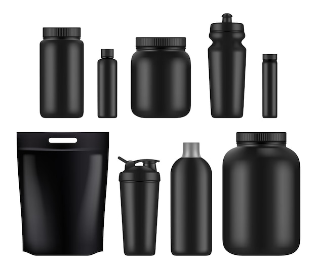 Sport nutrition. fitness whey plastic jar and bottles power food for supplements gym Premium Vector