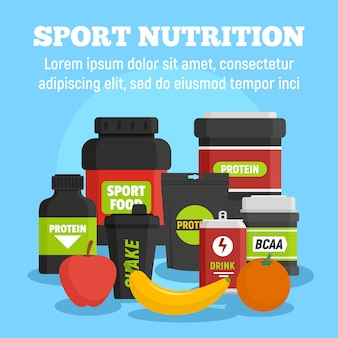 Sport nutrition template, flat style
