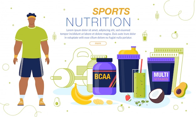 Sport nutrition and vitamins advertising banner