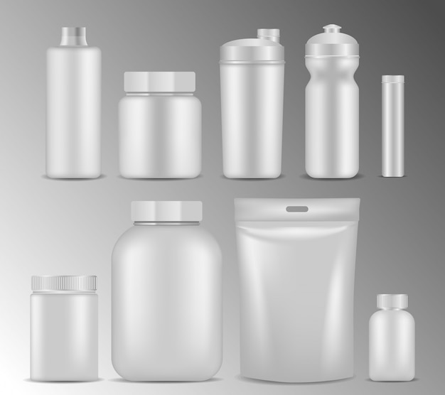 Sport nutrition white container realistic set