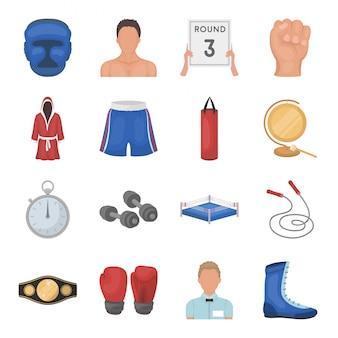 ボクシング漫画のスポーツは、アイコンを設定します。イラストボクサーチャンピオン。分離された漫画は、ボクシングのアイコンスポーツを設定します。