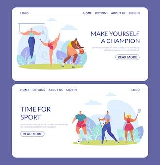 Спорт люди, баннеры множество спортсменов различных спортивных дисциплин изолированных иллюстраций.