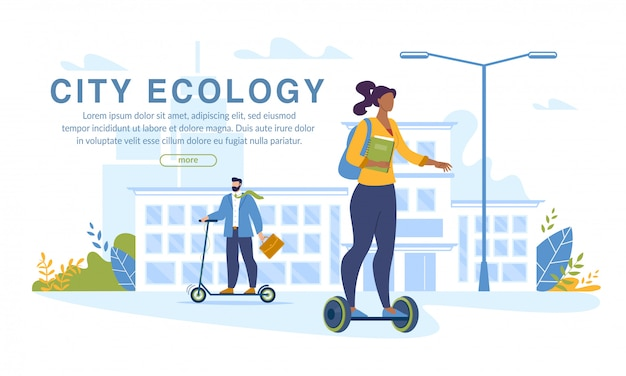 Sport people on eco vehicle city ecology banner
