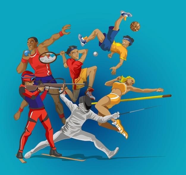 スポーツの人々のグループ。さまざまなスポーツ活動のコレクション。スポーツをしているプロの運動選手。あなたのスポーツデザインのスタイリッシュなカードやバナー漫画アニメスタイルのベクトルイラスト。