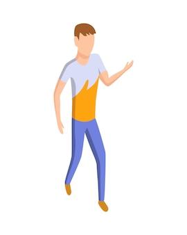スポーツの人々は等尺性です。屋外で男性アスリートを運動させます。男のスポーツ活動のランニンググラウンド。白で隔離される運動を実行する人間の性格