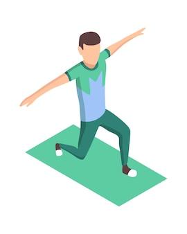 スポーツの人々は等尺性です。屋外で男性アスリートを運動させます。男のスポーツ活動のトレーニンググラウンド。白で隔離される運動を実行する人間の性格