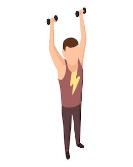 スポーツの人々は等尺性です。屋外で男性アスリートを運動させます。男のスポーツ活動のトレーニンググラウンド。白で隔離のダンベルで運動を行う人間の性格