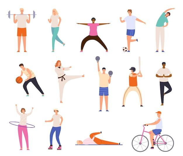 Спортивные люди. мужчины и женщины занимаются спортом, занимаются спортом, занимаются йогой и фитнесом, бегают и играют в баскетбол. набор векторных символов здорового образа жизни. езда на велосипеде, игра в бейсбол и футбол
