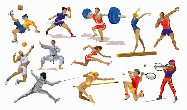 スポーツの人々が設定します。さまざまなスポーツ活動のコレクション。スポーツをしているプロの運動選手。バスケットボール、サッカー、空手、テニス、スプリント、体操、重量挙げ選手。漫画のスタイルでベクトルイラスト。
