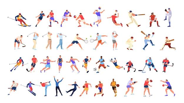 スポーツの人々を設定します。さまざまなスポーツ活動のコレクション。スポーツをしているプロのスポーツ選手。バスケットボール、サッカー、バレーボール、テニス。図