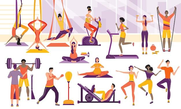 Спортивные люди тренируются в тренажерном зале, иллюстрации персонажей мультфильма спортивные тренировки