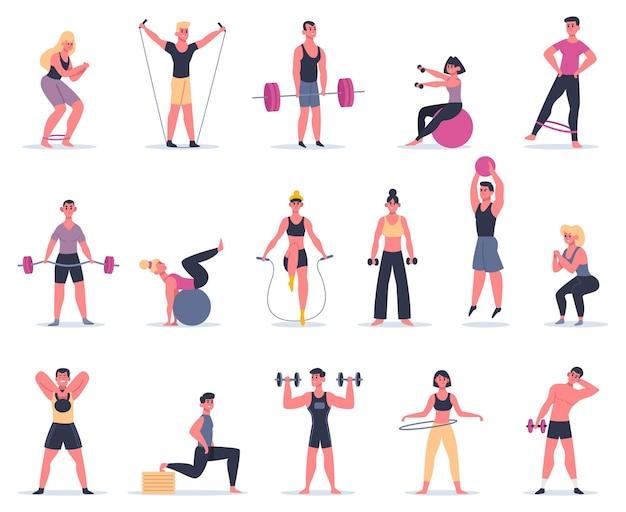 Спортивные люди. молодые спортсмены в спортзале, набор мужских женских персонажей тренировки фитнеса и упражнения иллюстрации. фитнес-упражнения, активная женщина и мужчина, тренировка людей