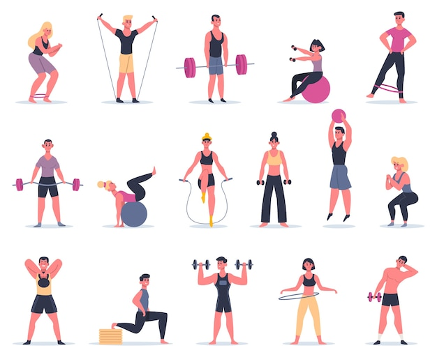 Sport people. young athletes at sport gym, male female fitness workout characters training and exercising  illustration icons set. fitness training exercise, active woman and man, people workout