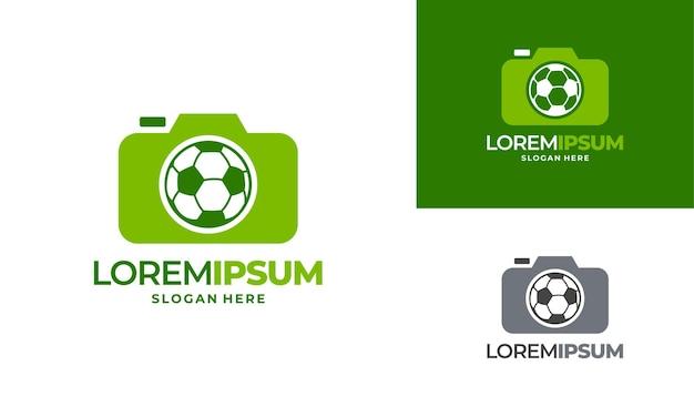 스포츠 사진 로고 디자인 개념 벡터, 카메라 및 축구 로고 아이콘