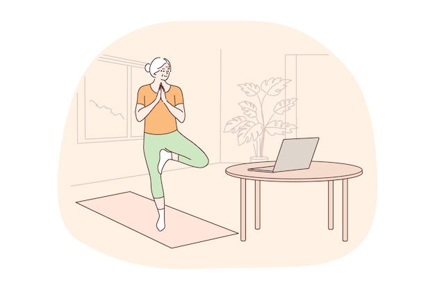 Спорт, пилатес, концепция обучения. женщина-пенсионер делает упражнения для тела аэробной йоги
