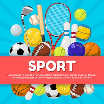 Sport poster design of different equipment on background and place for your text. vector illustratio