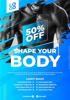 Sport poster design with discount