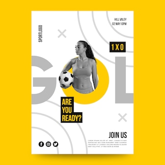 Sport poster design with photo