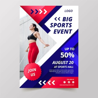 Sport poster event with photo