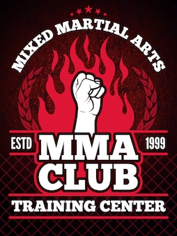 Sport poster of mma mixing fight concept