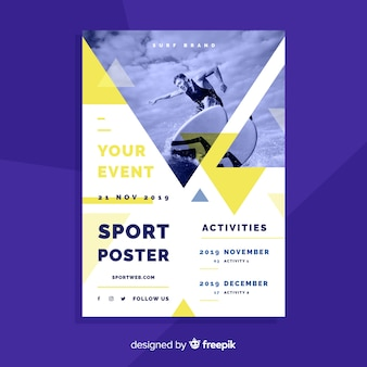 Sport poster template with chiaroscuro photo