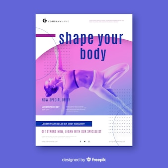 Sport poster template with image