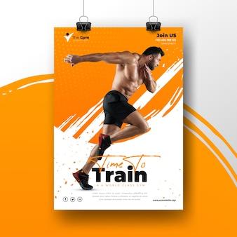 Шаблон спортивного плаката с фотографией тренирующегося человека
