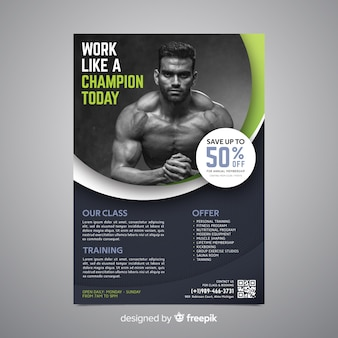 Sport poster template with photo
