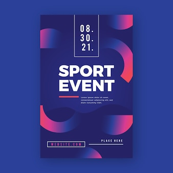 Sport poster with halves of circles design