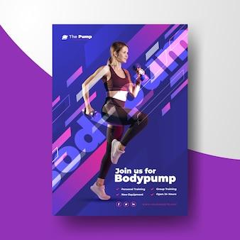 운동하는 여자의 사진과 함께 스포츠 포스터