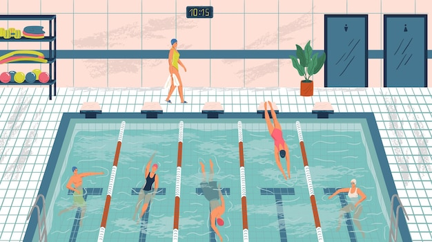 Sport professional swimming pool with lanes. people swim in public swimming pool vector illustration set. man and woman swim in water. fitness center interior.