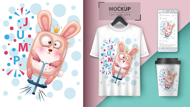 Sport rabbit poster and merchandising