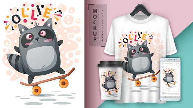 Спорт енот скейт иллюстрации для футболки, чашки и обои для смартфона