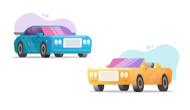 Спортивные гоночные автомобили и автомобили суперкары кабриолет плоский мультяшный набор современный модный дизайн клипарт на белом фоне