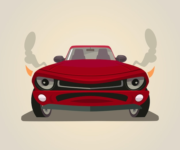 Sport red car front view flat cartoon illustration