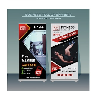 Sport roll up banner design in red and black color