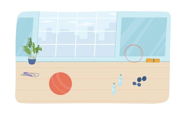 Элементы дизайна интерьера спортивной комнаты плоский мультяшный вектор тренажерный зал с окном обруч в горшке и