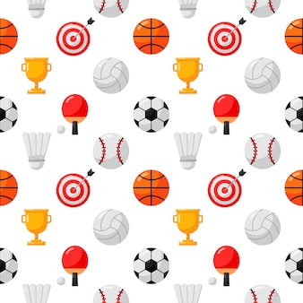 Sport seamless pattern icons isolated on white background.