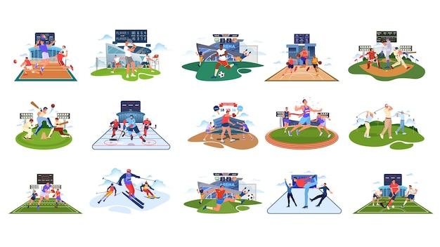 スポーツセット。さまざまなスポーツ活動のコレクション。スポーツをしているプロのスポーツ選手。バスケットボール、サッカー、バレーボール、テニス。図