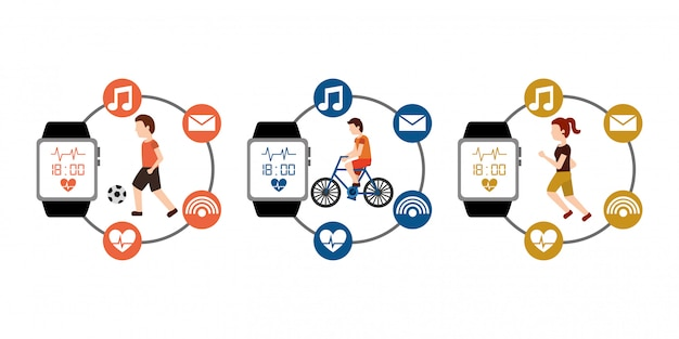Sport set people active fitness with smart watch wearable technology