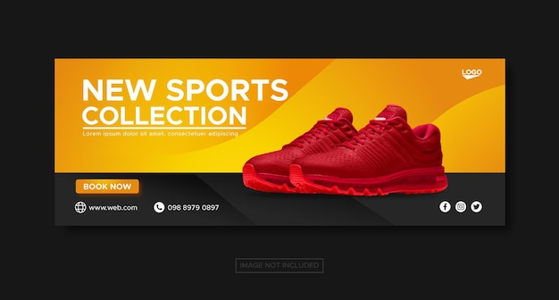 Sport shoes collection promotion sale social media facebook banner template